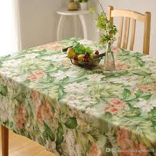 bz312 thick cotton table cloth fresh leaf flower fashion home hotel d factory s american country style whole table linens 90 inch round