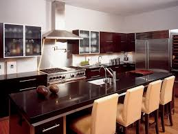 Large Kitchen Layout Kitchen White Chairs Dark Brown Kitchen Table Brown Wall