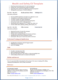Occupational Health And Safety Resume Examples Best of Health And Safety CV Template Tips And Download CV Plaza