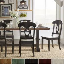 Eleanor Black Farmhouse Trestle Base Napoleon Back 5-piece Dining Set by  iNSPIRE Q Classic