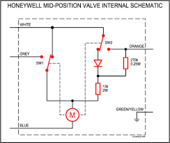 how the y plan mid position three port motorised valve works honeywell v8043 wiring diagram at Honeywell 2 Port Zone Valve Wiring Diagram