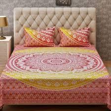 lemon color mandala duvet cover with 2 pillow covet bohemian hippie indian design cotton comforter cover