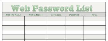 passwords template free printable password list free download