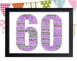image is loading personalised 60th birthday word art wall print gift