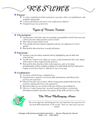 Gallery Of Types Of Resume Formats