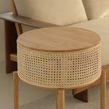 ubud natural rattan round solid wood