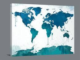 canvas world map watercolor wall art blue decor extra large print hobby lobby