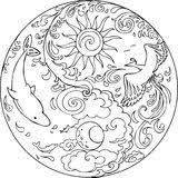 Kleurplaat Doodskop Mandela Tao Mandala Diksha Stock Abbildung