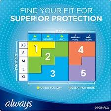 Sanitary Pad Size Chart Always My Fit Sizing Chart Menstrual Pads Infinity Wings