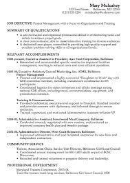 Combination Resume Example Project Management