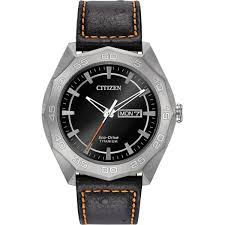 men s citizen aw0060 03e watch official retailer british watch citizen men 039 s super titanium black leather day date watch