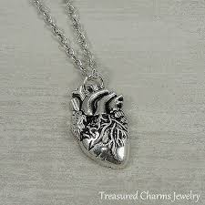 silver anatomical heart necklace real