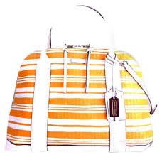 ... Medium Multicolor Totes ASQ Coach Bleecker Embossed 31004 Satchel in  orange .