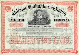 Printable Stock Certificates FileChicago Burlington Quincy Railroad Stock Certificate 24 23