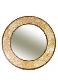 24 gold round wall mirror led glass mosaic decorative design by decors