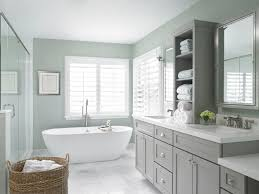 gray green paint for cabinets. stunning bathroom features a gray-green grasscloth papered walls over gray vanity with green paint for cabinets