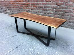 wood slab dining table beautiful:  coffee table beautiful black walnut live edge coffee table with custom x base legs natural