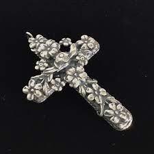 Vintage Jewelry | Vintage Sterling Silver Milagros Bird Floral Cross |  Poshmark
