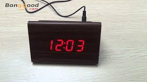 triangular wooden led alarm clock wood digital thermometer clock banggood com