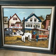 h hargrove serigraph oil painting lg pabst beer milwaukee carriage co