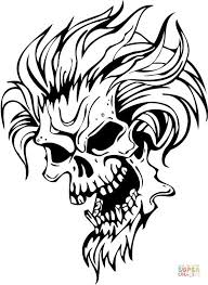 Small Picture Evil Skull with Hair coloring page Free Printable Coloring Pages
