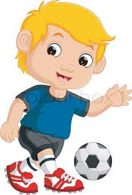 playing cartoon cartoon boy playing football stock vector colourbox