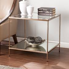 boston loft furnishings kili metallic gold glass modern end table