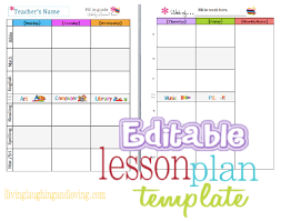 downloadable lesson plan templates cute lesson plan template free editable download living