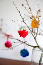 the little things making pompoms for a colourful spring branches bouquet