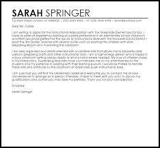 Teacher Assistant Cover Letter Samples Instructional Aide Cover Letter Sample Cover Letter Templates