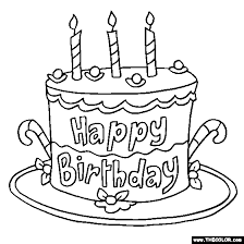Small Picture Happy Birthday Cake Online Coloring Page