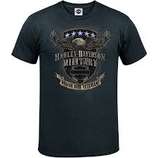 Harley Davidson Military Mens Graphic T Shirt Overseas Tour Veterans Support