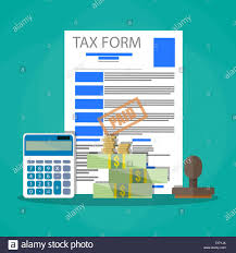 Time And Pay Calculator Time For Pay Taxes Concept Wooden Stamp Tax Form Document