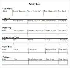 6+ Activity Log Samples | Sample Templates