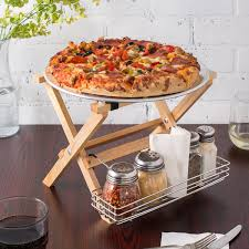 Tablecraft Natural Finish Mini Table Tray Stand With Stainless Steel