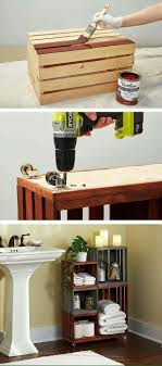Turn ordinary wooden crates into cool bathroom storage! I might do this  with my boyfriend for a fun DIY