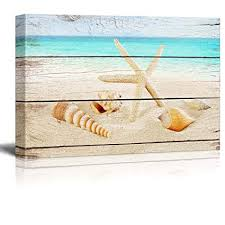 wall26 canvas prints wall art starfish and seashells on the beach with vintage wood background on starfish wall art amazon with amazon wall26 canvas prints wall art starfish and seashells