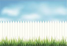 white fence. White Fence In Green Grass Vector Art Illustration E