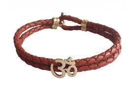 gold aum men s leather bracelet