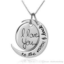 whole 2016 i love you to the moon and back necklace round two pieces pendant moon necklace gift chain 2mm 18inch sun and moon necklace f