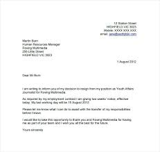 Letter Of Resignation 2 Weeks Notice Template