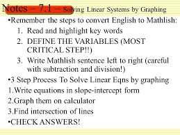 notes 7 1 solving linear systems by graphing
