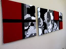 black and white wall art combination with red elegance design fl pattern additional amount line three