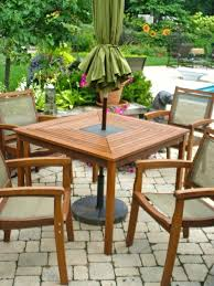 round wood patio table model 2 with metal frame and chairs round wood patio table