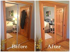 Diy Mirrored Closet Doors Closest Door Makeover Diy Mirrored Closet