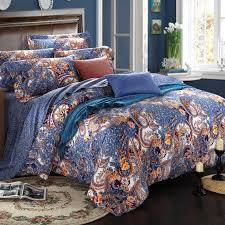 navy blue and rust orange unusual bohemian chic paisley pop print lucky clover reversible duvet cover