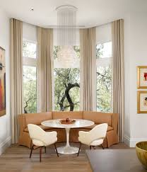 Bay Window Curtain Ideas Kitchen Contemporary with Banquette Baseboards  Breakfast Nook Capiz Chandelier Curtains