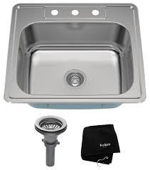 kraus 25 topmount single bowl 18 gauge stainless steel kitchen sink