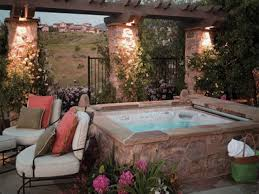 patio designs with fire pit and hot tub. Ordinary Patio Hot Tub Ideas Back Yard With Design Amys Office Designs Fire Pit And