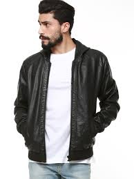 hooded faux leather jacket for men s black jackets